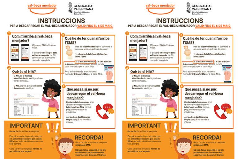 Educación envía este jueves por SMS el segundo vale-beca comedor a las familias de alrededor de 59.000 alumnos y alumnas