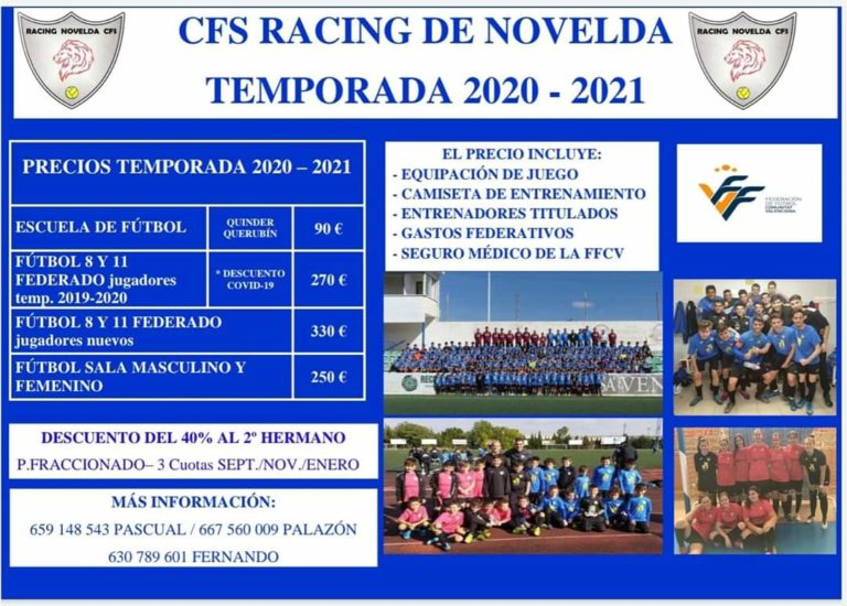 El CFS Racing de Novelda prepara la próxima temporada ajustando los precios para ayudar a las familias