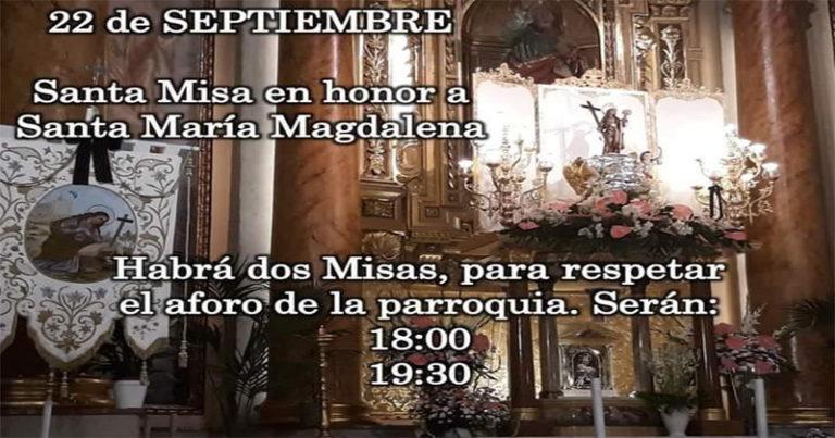 La parroquia de San Pedro celebrará la Santa Misa en honor a Santa María Magdalena este martes