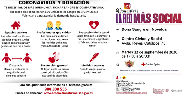 Este martes, donación de sangre en Novelda