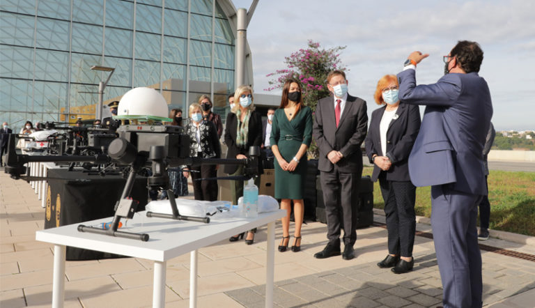 Ximo Puig destaca que la Comunitat Valenciana se encuentra a la vanguardia en el transporte de material sanitario con drones