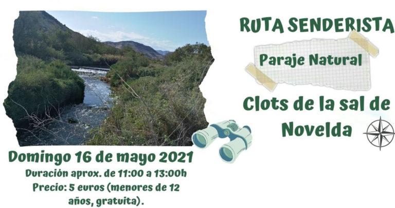Novelda organiza una ruta senderista guiada por el Paraje Natural de los Clots de la Sal