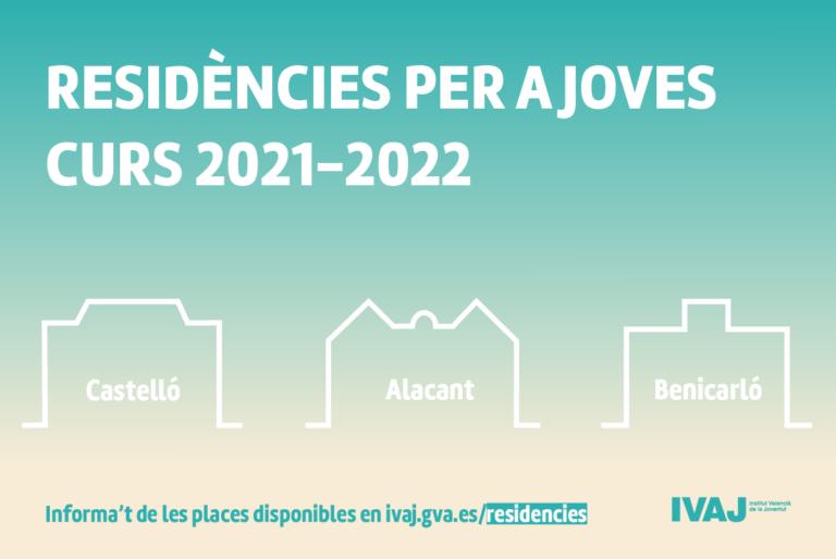 EL IVAJ convoca plazas en residencias de estudiantes de Alicante, Benicarló y Castellón para el curso 2021-2022