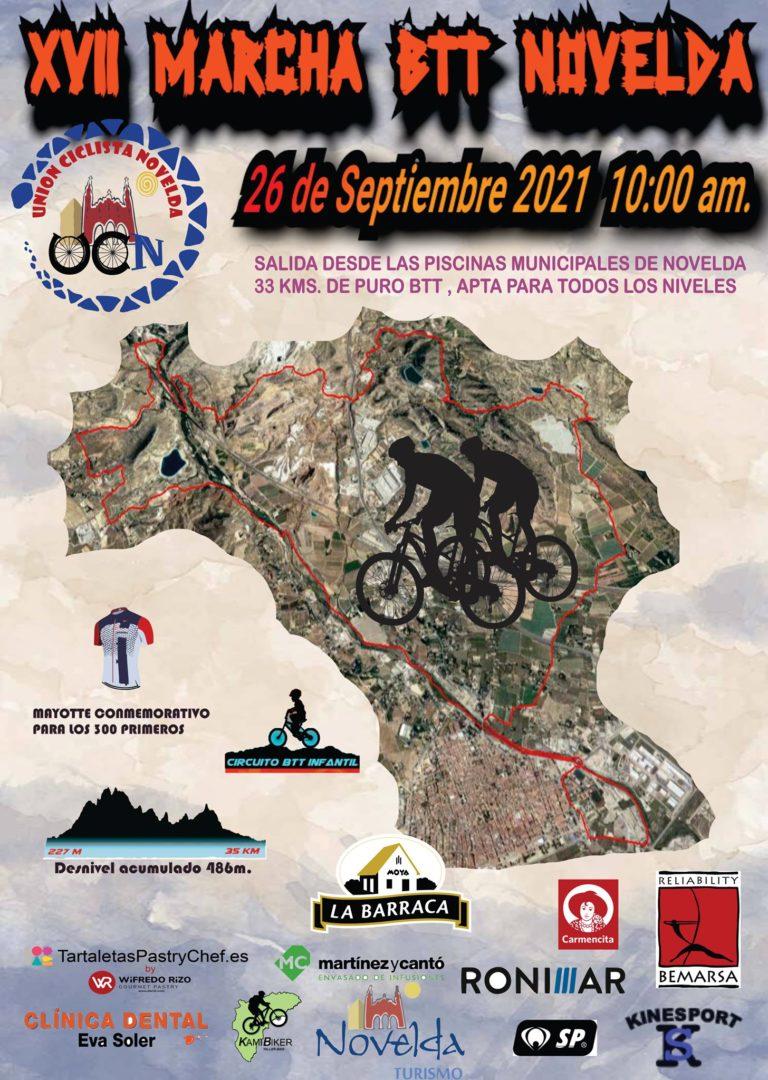 El Unión Ciclista Novelda celebrará la XVII Marcha  BTT Novelda el 26 de septiembre