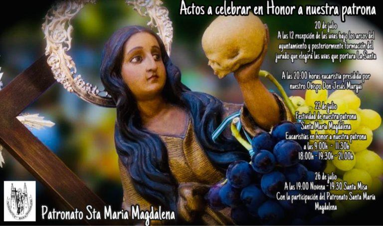 Actos programados por el Patronato en Honor a Santa María Magdalena