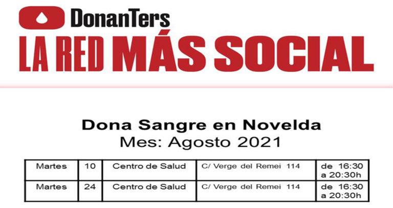 Próximas donaciones de sangre durante agosto en Novelda
