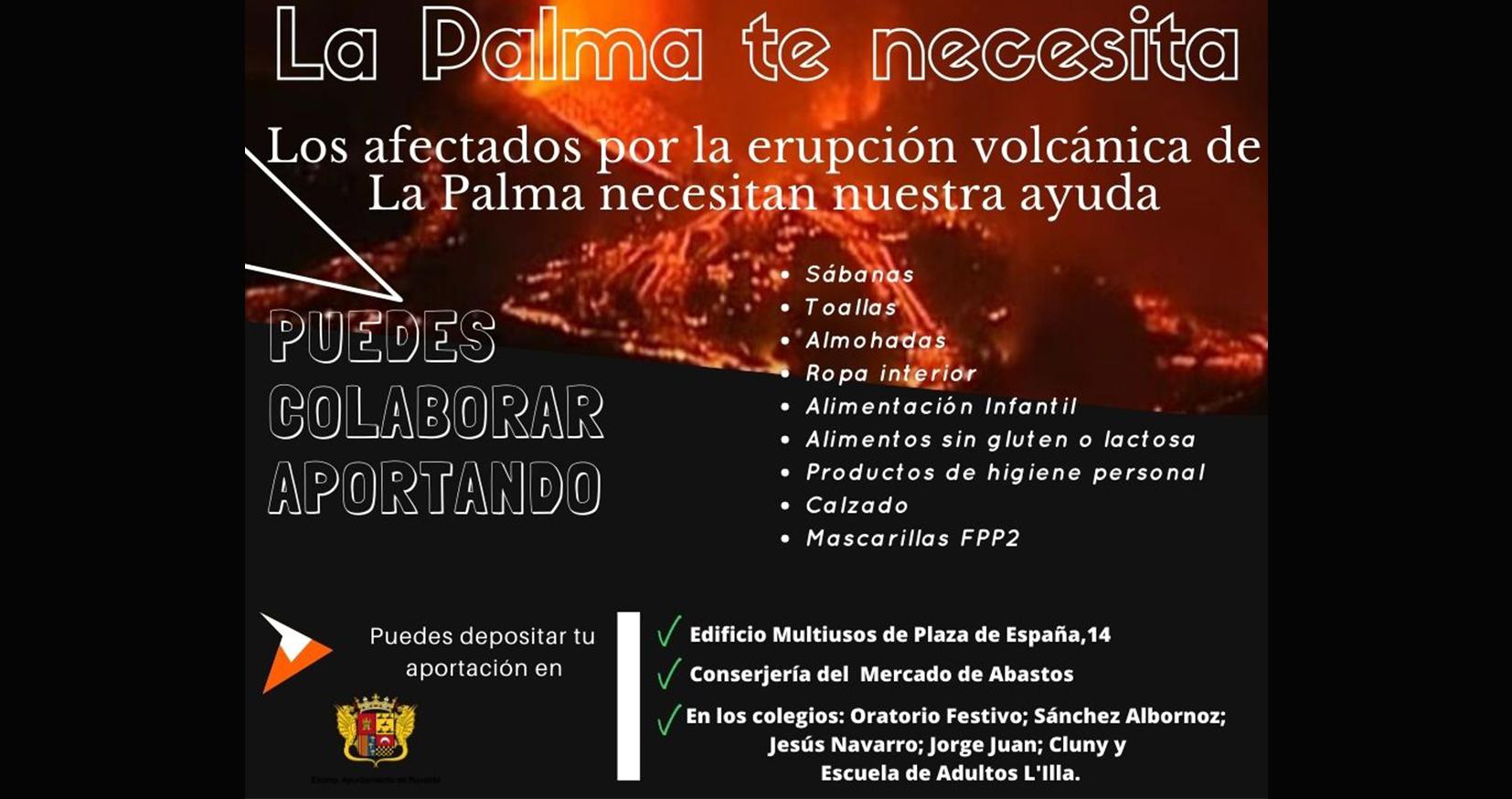 Colabora para ayudar a los afectados de la erupción de La Palma