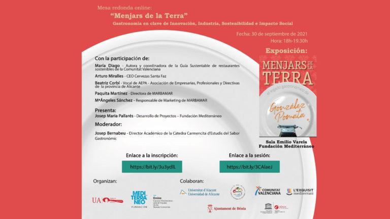 La Cátedra Carmencita de la Universidad de Alicante analiza la innovación, sostenibilidad e impacto social de la Gastronomía en una mesa redonda on line